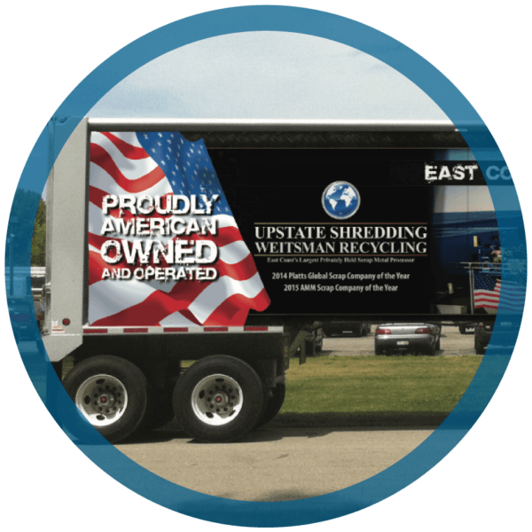 A truck showing that Upstate Shredding is Proudly American Owned and Privately Owned