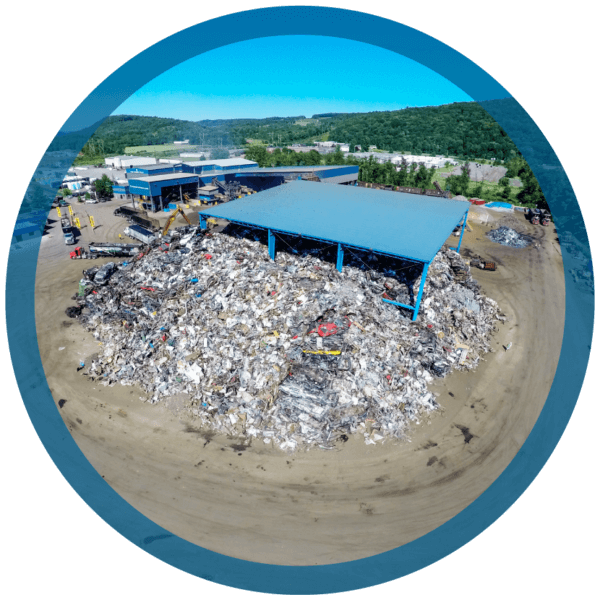 A scrap yard at Adam Weitsman's Upstate Shredding recycling facility