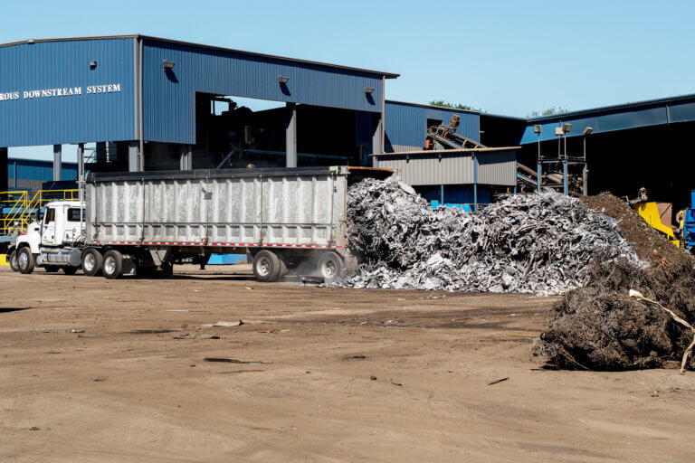 A truck load of metal to be recycled at the Upstate Shredding recycling facility