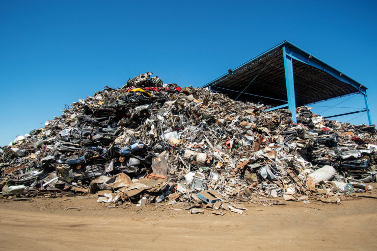 A pile of recycled metal at Upstate Shredding